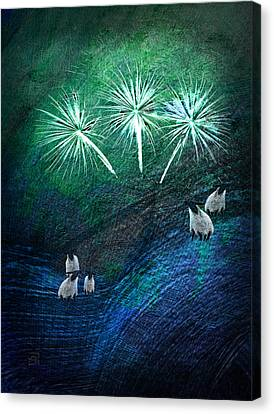 Canvas Print featuring the digital art The Fireworks Are Starting by Jean Moore