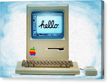 The First Apple Computer Painting Blue Canvas Print by Tony Rubino
