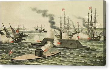 The First Battle Between Iron Ships Of War Canvas Print by Henry Bill