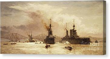 The First Battle Squadron Leaving The Forth For The Battle Of Jutland Canvas Print