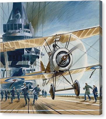 The First Deck Landing Canvas Print by Wilf Hardy