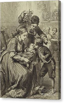 Christmas Cards Canvas Print - The First Kiss Under The Mistletoe by David Henry Friston