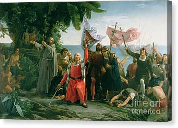The First Landing Of Christopher Columbus Canvas Print
