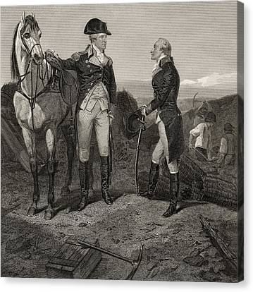 Patriots Canvas Print - The First Meeting Of George Washington And Alexander Hamilton by Alonzo Chappel
