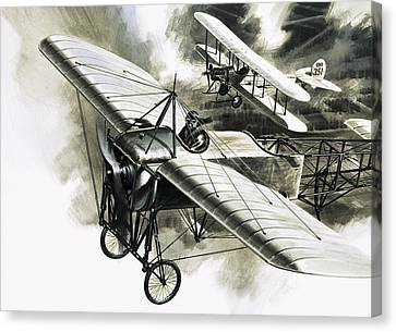 The First Reconnaissance Flight By The Rfc Canvas Print by Wilf Hardy
