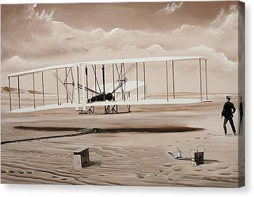 The First To Fly Canvas Print by Kenneth Young
