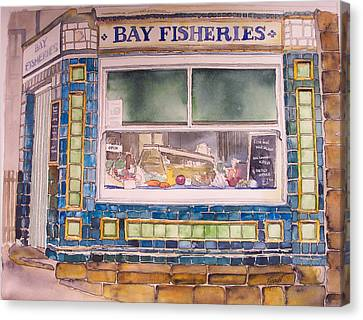 The Fish And Chip Shop Canvas Print by Victoria Heryet