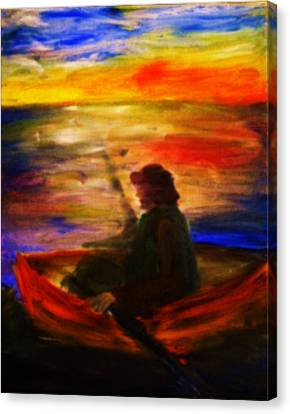 Canvas Print featuring the painting The Fisherman by Evelina Popilian
