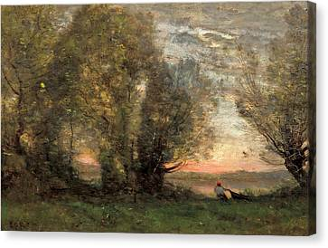 The Fisherman - Evening Effect Canvas Print by Jean-Baptiste-Camille Corot