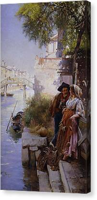 The Fisherman's Courtship Canvas Print by Henry Woods