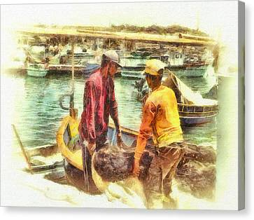 The Fishermen Canvas Print by Leigh Kemp