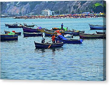 Canvas Print featuring the photograph The Fishermen - Miraflores, Peru by Mary Machare