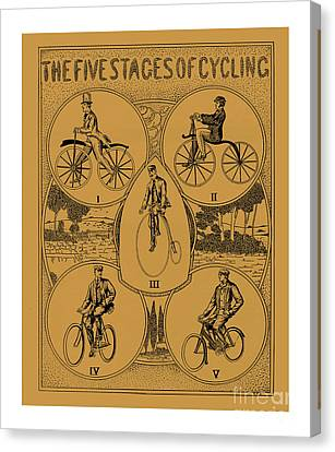 The Five Stages Of Cycling Canvas Print