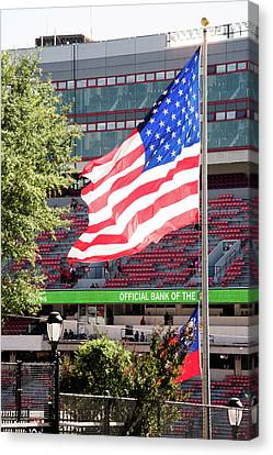 Canvas Print featuring the photograph The Flag Flying High Over Sanford Stadium by Parker Cunningham