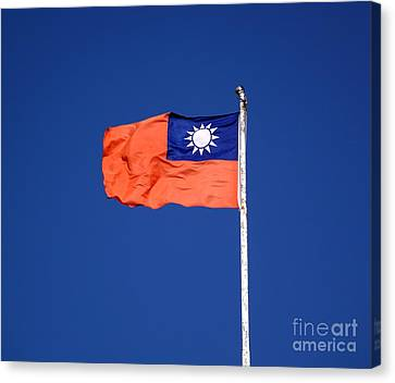 Canvas Print featuring the photograph The Flag Of Taiwan by Yali Shi