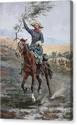 Remington Canvas Print - The Flag Of Truce In The Indian War by Frederic Remington