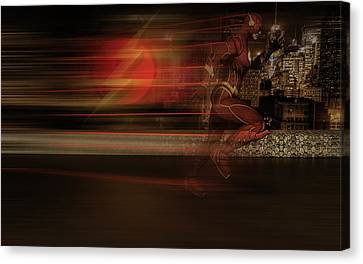 Canvas Print featuring the digital art The Flash  by Louis Ferreira