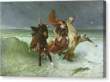 The Flight Of Gradlon Mawr Canvas Print by Evariste Vital Luminais