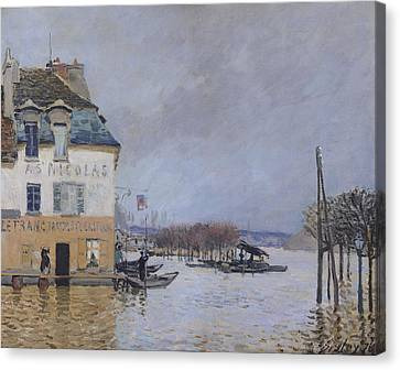 1876 Canvas Print - The Flood At Port Marly by Alfred Sisley