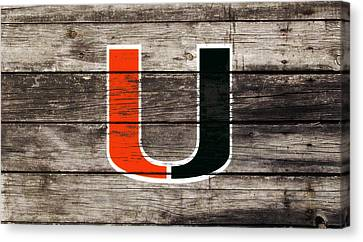 Wooden Bowl Canvas Print - The Miami Hurricanes       by Brian Reaves