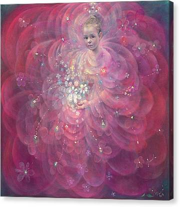 Flower Pink Fairy Child Canvas Print - The Flower Of Childhood by Annael Anelia Pavlova