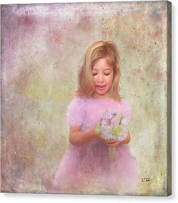 Canvas Print featuring the mixed media The Flower Princess by Colleen Taylor