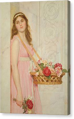 Relief Canvas Print - The Flower Seller by George Lawrence Bulleid