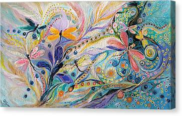 The Flowers And Dragonflies Canvas Print