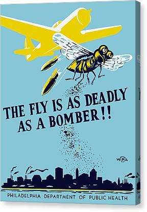 The Fly Is As Deadly As A Bomber - Wpa Canvas Print by War Is Hell Store