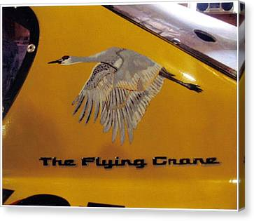 Canvas Print featuring the painting The Flying Crane by Richard Le Page
