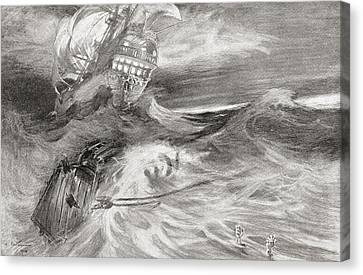 Sailing Ocean Canvas Print - The Flying Dutchman. A Ghost Ship That by Vintage Design Pics