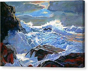 The Foaming Sea Canvas Print by David Lloyd Glover