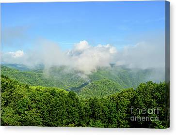 Canvas Print featuring the photograph The Fog Rises Over The Bluestone Gorge - Pipestem State Park by Kerri Farley