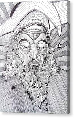 The Fool The King Original Black And White Pen Art By Rune Larsen Canvas Print by Rune Larsen