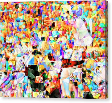 Canvas Print featuring the photograph The Football Longest Yard In Abstract Cubism 20170328 by Wingsdomain Art and Photography