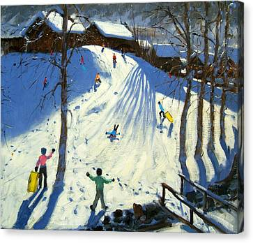 Winter Landscapes Canvas Print - The Footbridge by Andrew Macara