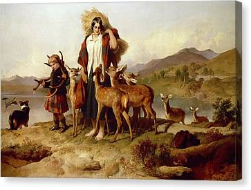 The Forester's Family Canvas Print by Sir Edwin Landseer