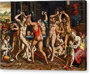 The Forge Of Vulcan Canvas Print by French School