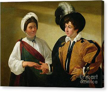 Confidence Men Canvas Print - The Fortune Teller by Michelangelo Merisi da Caravaggio