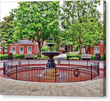 Canvas Print featuring the photograph The Fountain At Radford University by Kerri Farley