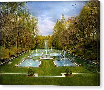 Canvas Print featuring the photograph The Fountains by John Rivera