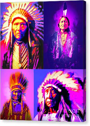 The Four Chiefs Three Horses Sitting Bull Geronimo Red Cloud Canvas Print