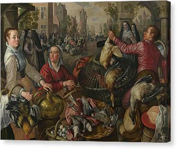 The Four Elements - Air. A Poultry Market With The Prodigal Son In The Background Canvas Print by Joachim Beuckelaer