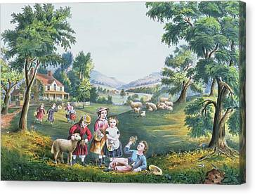 The Four Seasons Of Life Childhood Canvas Print by Currier and Ives