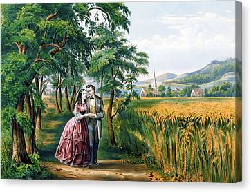 The Four Seasons Of Life  Youth  The Season Of Love Canvas Print by Currier and Ives