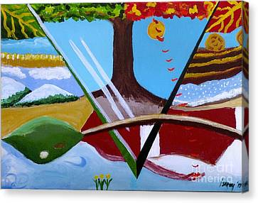 Canvas Print featuring the painting The Four Seasons by Rod Ismay