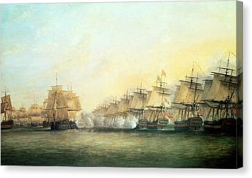 The Fourth Action Off Trincomalee Between The English And The French Canvas Print by Dominic Serres