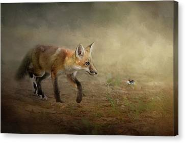 Fox Kit Canvas Print - The Fox And The Butterfly by Jai Johnson