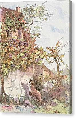 The Fox And The Grapes Canvas Print by Georges Fraipont