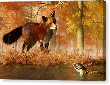 The Fox And The Turtle Canvas Print by Daniel Eskridge